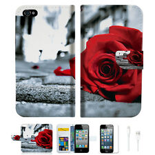 Blooming Rose Wallet Case Cover For Apple iPhone 4 4S -- A011