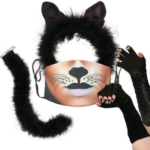 Adult Black Cat Ears Tail Gloves Face Mask Halloween Fancy Dress Costume outfit