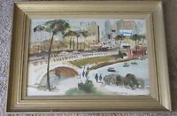 MYSTERY ARTIST SIGNED DUFY STYLE PAINTING CITYSCAPE IMPRESSIONIST MODERNIST VNTG