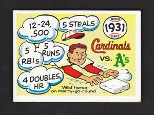 1968 Fleer Laughlin 1931 World Series Cardinals vs A's 1970 Blue Back #28