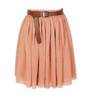 Coral Chiffon Women Girl Short Mini Dress Skirt Pleated Retro Elastic Waist Sexy