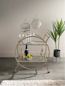 Gold Metal Trim Drinks Trolley Glass Bar Kitchen Cocktail Storage Trolley Wheels