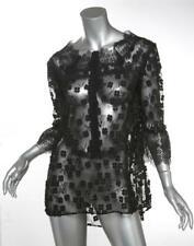 ELIE TAHARI Womens Black Floral Mesh Lace Blouse 3/4 Sleeve Top M NEW
