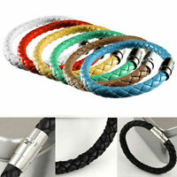 Unisex Women Men Braided Leather Steel Magnetic Clasp Bracelet Handmade 7 Colors