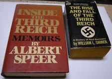 RISE AND FALL OF THIRD REICH Shirer; INSIDE THIRD REICH MEMOIRS Speer 2 lot 1HC