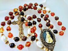 Beautiful Antiqued Carnelian Bead Fatima Cameo Cream Pearl Catholic Rosary