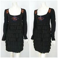 Womens Save the Queen Mini Layered Dress Black Rhinestones Nylon Blend Size M