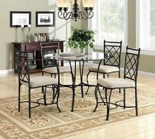 Dining Set Metal Top Round Table Upholstered Chair Kitchen Room Home 5 Piece New