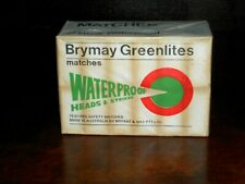 Old 1960's Brymay Greenlites Waterproof Matches box of 12 Safety Matches