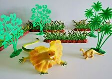 Vintage Dinosaur Squeak Rubber Figure Plastic Trees Bushes Playset Vtg Toy Lot