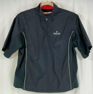 Dryjoys By FootJoy Women Black 1/4 Zip Lined S/Sleeve Golf Jacket Windbreaker L