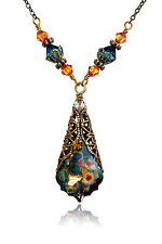 Vintage Peacock Baroque Gold-tone Filigree Necklace with Crystals from Swarovski