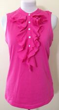 "Womens Ralph Lauren Bright Pink Ruffle Neck T Shirt Size Medium ""lauren"""