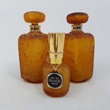Lot de 2 flacons et un pulvérisateur Marcel Franck Paris Pate de verre ambré