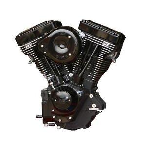 """Black S&S V124 124"""" Evolution Evo Motor Engine Harley Softail Dyna Touring FXR"""