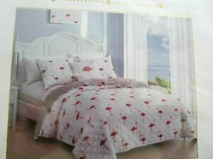 "King Flamingo Quilt Set Including 2 King Shams--106""x92""--NIP"