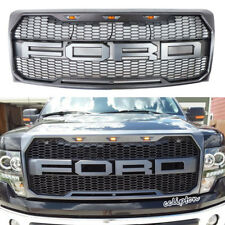 2009-2014 Ford F-150 Raptor Type Grill Upper Gray W/ Amber LED Lights XL STX FX4