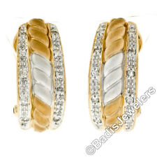 14K TT Gold Dual Row Pave Diamond & Ribbed Matte Finished Center Huggie Earrings