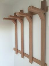 Wall Mounted Storage Rack for Beach Chairs - Natural Hardwood Mahogany Material.