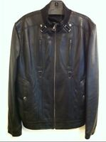 VERSACE COLLECTION BUCKLE & SNAP DETAIL ZIP FRONT LEATHER JACKET US LARGE EU 52