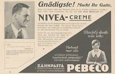 Y4864 Zahnpasta PEBECO - NIVEA Creme - Pubblicità d'epoca - 1927 Old advertising