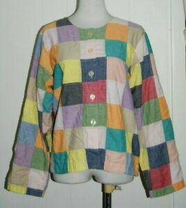 VTG Orvis 100% Cotton Patchwork Button Front Long Sleeve Lined Shirt Jacket 12