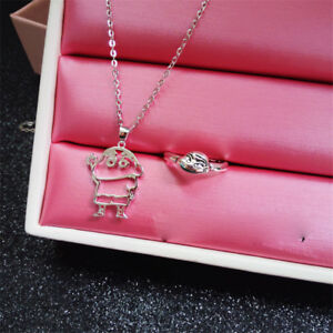 Anime Crayon Shin-chan Pendant Necklace Ring 925 Silver Children Christmas gift
