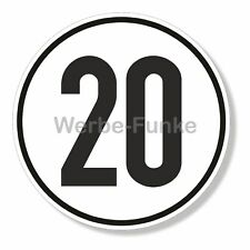 1 Geschwindigkeitsaufkleber 20 km/h mit Schutzlaminat , 20 cm, Schild