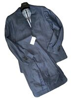Hardy Amies Blue (Denim Colour) Mens Suit 100% Cotton 38R Jkt 32 Trs