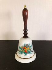 Avon 1985 Christmas Bell, Porcelain with Wooden Handle with Box