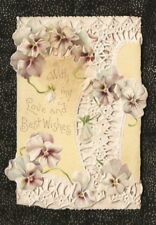 Victorian Christmas Card YELLOW with White & Pink PANSIES Paper Lace Borders