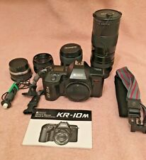Ricoh Kr-10M 35mm Film Camera with 4 Lenses, With Filters & Caps, Plus Manual