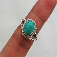Retro 925 Sterling Silver Turquoise Gems Rings Women Wedding Gypsy Men's Jewelry