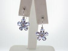 Natural Purple Tanzanites Diamonds FLOWER Solid 10K White Gold DANGLE Earrings