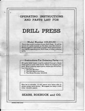 1950 Craftsman 103.23130 /King Seeley Drill Press Instructions