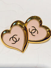 2 Gold Tone Pink Heart Shape Chanel Stamped Buttons , 22 mm