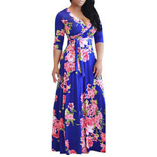 Women Boho Floral Long Maxi Dress 3/4 Sleeve Evening Party Summer Beach Sundress