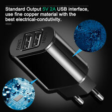 5V 2A EU Dual 2 USB Fast Charger Mobile Phone Wall Power Adapter For Phone Black