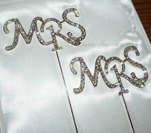 Mrs & Mrs Cake Topper Same Sex Marriage Wedding Anniversary Rhinestone Diamante