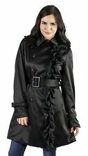 Betsey Johnson Satin Black Collared Ruffled Belted Trench Coat Sz S New $180