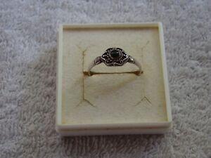 Alter schwarzer Achat Sterling Silber Ring  ! Gr 57 !