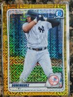 👀 Jasson Dominguez #34/50 🔥 2020 Bowman Chrome GOLD MOJO Refractor WOW BCP-243