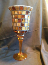 Footed Mosaic Glass Stained AMBERVASE Tile Candle Holder Hurricane bowl dish