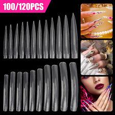 Nails Fake False Nail Tips Extra Long Square Point French Transparent 100/120Pcs