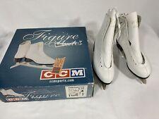 Girls Ice Skates Size 4 Ccm White Leather Figure Skates