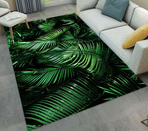 Exotic Tropical Jungle Plants Palm Leaves Area Rugs Living Room Floor Mat Soft