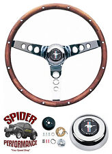 "1965-1969 Mustang steering wheel PONY 13 1/2"" CLASSIC WALNUT"