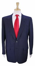 * BRIONI * Handmade Royal Blue/Black Striped 2-Btn Luxury Wool Suit 42R