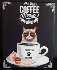 Coffee House Grumpy Cat Inspired Custom Kitchen Wood shelf sitter sign plaque