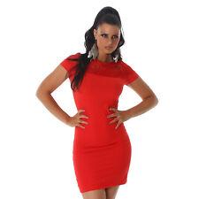 Sexy Stretch minivestido vestido acanalados estructura fiesta vestido de encaje talla 40 rojo